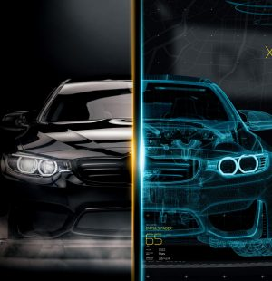 The,Technology,Behind,Modern,Cars,-,Futuristic,Concept,(wireframe,Frontal
